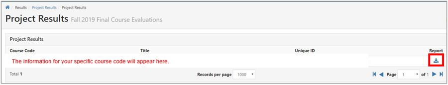 """Under the column heading """"Report"""", select the download icon."""