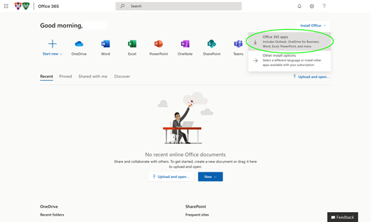 Click Office 365 Apps
