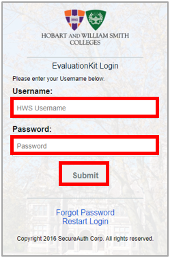 Image of the login screen. Enter your HWS Username and Password. Select Submit.